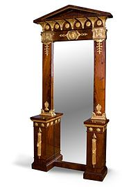 Mahogany and gilt Gustavian Neo-Classical floor standing pier mirror with closed pediment top, Sweden
