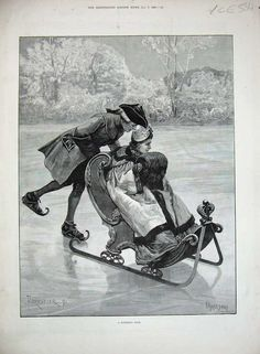Ice Skating - The Illustrated London News - January Roller Skating, Ice Skating, Figure Skating, Vintage Christmas Photos, Skate Art, European History, Costume, Old Photos, Winter Wonderland
