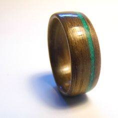 valentines gift for him Walnut Bentwood Ring w/ Offset Malachite Inlay wooden promise rings wooden engagement rings valentines day