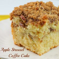 Apple Streusel Coffee Cake has a layer of streusel and apples in the center of the cake and a generous amount of stresuel on top as well. It's an extremely moist, soft delicious cake!