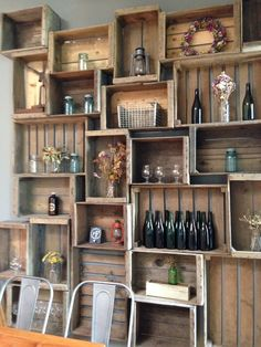 Crate display, bottle as flower holder