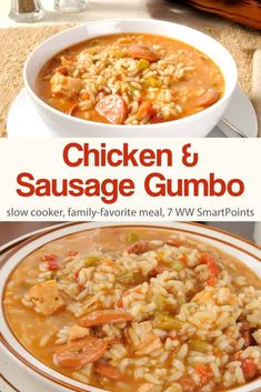 Served over rice with warm crusty bread, this slow cooker chicken and sausage gumbo is a family-favorite dinner! Though not authentic this slow cooker chicken and sausage gumbo is an easy, healthy and delicious dish the whole family enjoyed. Slow Cooker Lasagna, Slow Cooker Freezer Meals, Slow Cooked Meals, Health Slow Cooker Recipes, Crockpot Recipes, Crockpot Gumbo Recipe, Easy Gumbo Recipe, Crock Pot Gumbo, Ww Recipes