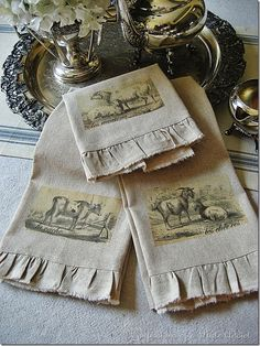 CONFESSIONS OF A PLATE ADDICT DIY Vintage French Tea Towels  Use osnaburg fabric******************