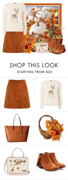 """""""Thanksgiving TS"""" by tinkertot ❤ liked on Polyvore featuring Dorothy Perkins, MICHAEL Michael Kors, Dolce&Gabbana and Sam Edelman"""