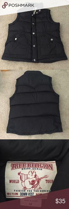 True religion down vest Great condition!! Black true religion down vest. Super soft and comfortable!! Size med. True Religion Jackets & Coats Vests