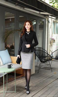 Korean Women`s Fashion Shopping Mall, Styleonme. Asian Fashion, Hijab Fashion, Fashion Outfits, Fashion Tips, Fashion Design, Women's Fashion, Pantyhose Outfits, Beautiful Asian Girls, Elegant Girl