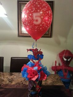 Spiderman party Superman Birthday Party, Avengers Birthday, 4th Birthday Parties, Superhero Party, Boy Birthday, Birthday Morning, Birthday Ideas, Birthday Party Centerpieces, Party Themes
