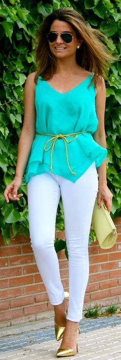 Oh My Looks Shop Green Chiffon Belted V-neck Tank Top by Oh my Looks