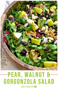 This Pear Walnut & Gorgonzola Salad is perfect for winter and holiday gatherings. Its loaded with fresh pears walnuts dried cranberries sunflower seeds green onions and gorgonzola cheese. Plus it takes just 10 minutes to prep! Pear Walnut Salad, Pear Gorgonzola Salad, Pear Salad, Gorgonzola Cheese, Cranberry Walnut Salad, Fruit Salad, Green Salad Recipes, Healthy Salad Recipes, Winter Salad Recipes