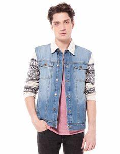 Bershka Romania - Jacquard sleeve denim jacket