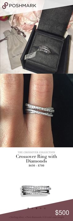 David Yurman Crossover Ring with Diamonds The perfect everyday ring!  The beautiful and elegant crossover ring with diamonds- never worn, brand new! David Yurman Jewelry Rings