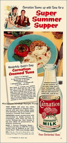 Vintage Carnation Creamed Tuna recipe. One of many great old recipes on McCallum Vintage Recipe Divas.