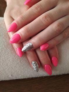 pink gel, silver glitter