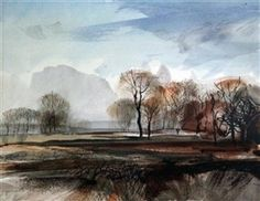 Artwork by Rowland Hilder, Autumn landscape, Made of ink and watercolour