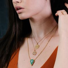 This one-of-a-kind necklace from is exceptional 😍 Colourful with edgy geometric intarsia set in a beautiful hammered yellow gold on fine gold chain. Available in-store and online now at To shop this necklace on our website, click the link Irish Jewelry, Fine Jewelry, Jewelry Making, Contemporary Jewellery, 14 Karat Gold, Malachite, Gold Chains, Opal, Handmade Jewelry