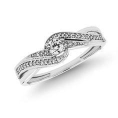 1/4 CT. T.W. Diamond Swirl Promise Ring in 10K White Gold