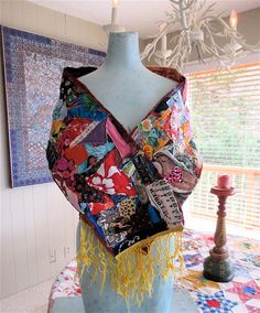 100 Random SCRAPS of FABRIC Scarf of Many Colors Folk Art COLLAGE Clothing Lot Vintage Fiber Textile Cloth Material MyBonny