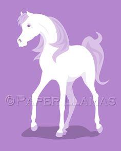 fairytail princess horse  art for girls  custom by PaperLlamas