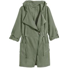 Yoins Khaki Green Trench Coat with Hood (1.645 RUB) ❤ liked on Polyvore featuring outerwear, coats, jackets, coats & jackets, green, green coat, hooded coat, lightweight trench coat, utility coat and khaki trench coat
