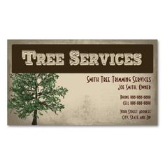 Tree Trimming Care Services Business Card. This great business card design is available for customization. All text style, colors, sizes can be modified to fit your needs. Just click the image to learn more!