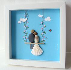 Pebble Art Wedding Unique Wedding Gift COUPLE on Swing