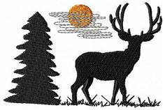 Deer Embroidery Design  Instant Download by JEmbroiderynApplique