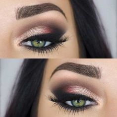 Pretty Eye Makeup for green eyes with Copper Eyeshadow