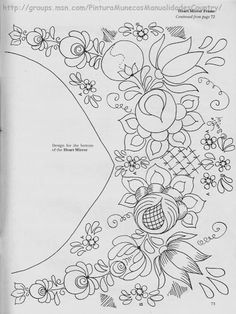pattern for Bauernmalerei Embroidery Neck Designs, Embroidery Motifs, Learn Embroidery, Machine Embroidery Applique, Floral Embroidery, Mexican Embroidery, Hungarian Embroidery, Painting Patterns, Fabric Painting