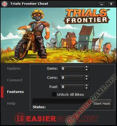 Trials Frontier Cheat / Hack iOS Android 2014  Features: - Unlimited Gems. - Unlimited Coins. - Unlimited Fuel. - Unlock All Bikes.  http://easiergame.net/trials-frontier-cheat-hack-ios-android/