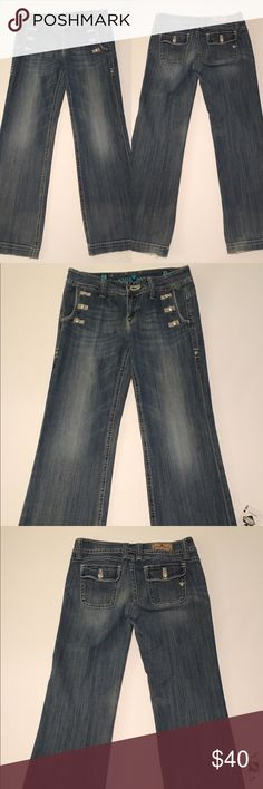 "Sang Real By Miss Me Distressed Wide Leg Jeans Sang Real By Miss Me. A Great Looking Pair Of Nautical Style Trouser Jeans. These Jeans Are In Good Used Condition With Some Wear On the Cuffs.                                       Measurements Laying Flat:                   Waist-30""                                                     Length 33""                                                   Rise-8"" Sang Real Jeans Flare & Wide Leg"
