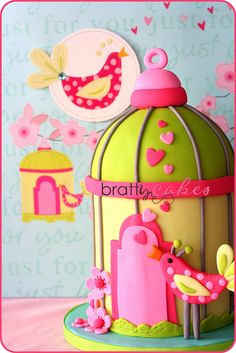 Funky Birdie Cake by Natty-Cakes (Natalie), via Flickr