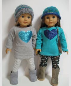 mom and sophie dolls American Girl Doll Clothes Turquoise Heart by My American Girl Doll, American Girl Outfits, American Girl Crafts, American Doll Clothes, Ag Doll Clothes, Doll Clothes Patterns, Doll Patterns, America Girl, Barbie