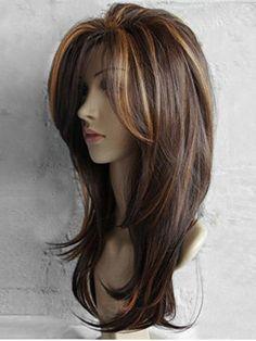 Cheap Long Inclined Bang Highlighted Natural Straight Synthetic Wig