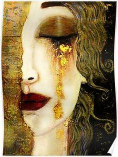 Golden Tears by Gustav Klimt, Freyas art deco era, Goddess of love & sex , digital painting created by Dodi Ballada Gustav Klimt, Klimt Art, Canvas Art, Canvas Prints, Art Prints, Tears Art, Tableaux Vivants, Art Deco Era, Art Deco Print