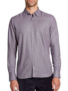 Saks Fifth Avenue Collection Printed Cotton Sportshirt - Red - Size