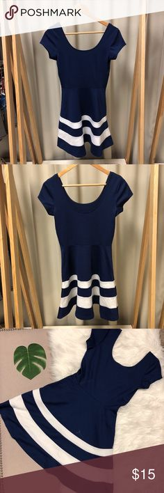 Charlotte Russe Blue and White Stripe Dress Worn about 2 times. 75% polyester, 20% rayon, 5% spandex. Soft and comfortable. White stripes stitched in. Perfect for weddings or for brunch! Charlotte Russe Dresses Mini