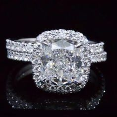 4.00 Ct. Under Halo and Halo Cushion Cut Diamond Engagement Set G Color VS2 GIA Certified