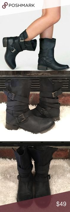 STEVE MADDEN BREWZZER BOOTS 🌺 Love your look, no matter what is at stake. Steve Maddens BREWZZER distressed booties feature a wrap-around dual buckle detail and a cool stacked low profile heel. Give it a feminine foil by teaming with a bold print wrap dress and fitted vintage jacket 😍 gently worn a few times, great condition 🌺 Steve Madden Shoes