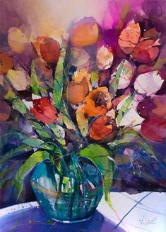 Blog post about an expressive tulip watercolor painting. I paint flowers and city motifs in watercolor. I paint expressiv watercolors.
