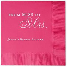 From MISS to Mrs. Bridal Shower Personalized Napkins (Pack of 100)