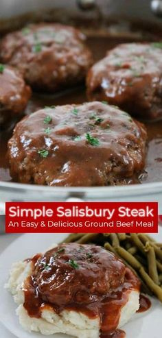 This Simple Salisbury Steak will make for a perfect weeknight recipe idea to serve the family. Add in some mashed potatoes and your favorite veggies for the ultimate comfort food. An easy meal idea that is inexpensive and tasty. Beef Recipes For Dinner, Simple Dinner Recipes, Dinner Ideas Hamburger Meat, Yummy Dinner Ideas, Easy Dinner Meals, Meal Ideas For Dinner, Chicken Recipes, Healthy Meat Recipes, Thanks Giving Dinner Ideas