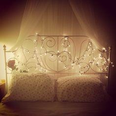bed bedroom princess ikea fairylights