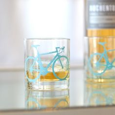 2 bicycle rocks glasses turquoise bike by vital on Etsy, $24.00