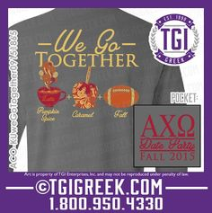 TGI Greek - Alpha Chi Omega - Date Party - Fall - Comfort Colors - Greek T-shirts #tgigreek #alphachiomega #dateparty