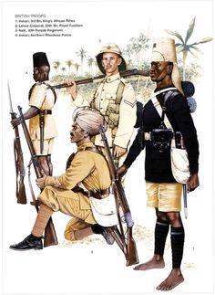 British Troops in East Africa, 1914-18: 1: Askari, 3rd Bn, King's African Rifles; 2: Lance-Corporal, 25th Bn, Royal Fusiliers; 3: Naik, 30th Punjab Regiment; 4: Askari, Northern Rhodesia Police