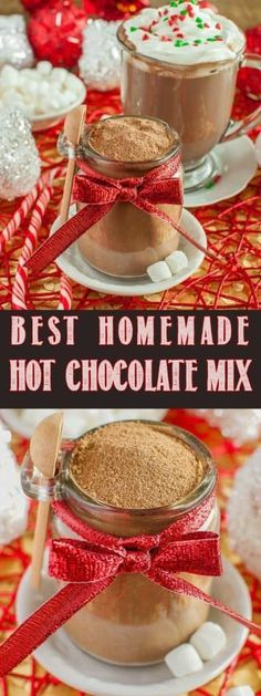 I don't want to sound dramatic, but this is the World's Best Homemade Hot Cocoa . I don't want to sound dramatic, but this is the World's Best Homemade Hot Cocoa Mix! It makes rich, creamy, perfect hot. Hot Chocolate Gifts, Hot Chocolate Bars, Hot Chocolate Recipes, Mason Jar Hot Chocolate Recipe, Chocolate Cake, Hot Cocoa Bar, Hot Cocoa Mixes, Cocoa Recipes, Drink Recipes