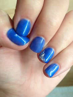 Blue nails with sparkles. #manicure
