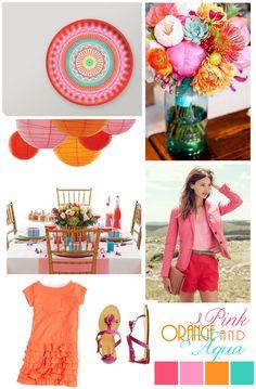 Love this color scheme - pink, orange, and aqua.