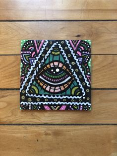 Original hand-painted wood piece Measures Made with acrylic paint and paint pens Sealed with glossy varnish Trippy Painting, Painting On Wood, Painting & Drawing, Sharpie Paint Pens, Posca Art, Mini Canvas Art, Hippie Art, Pen Art, Psychedelic Art