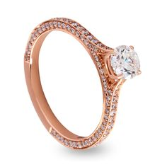 All the Diamonds! 18ct Rose Gold Round Brilliant Diamond Solitaire with full pave set Diamond Band.